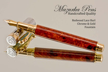 Handmade Fountain Pen made from Redwood Lace Burl with Chrome and Gold color accents.  Main view of pen and cap.