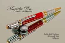 Handmade Art Deco Ballpoint Pen, Red and Gold TruStone Art Deco Ballpoint Pen, Gold and Chrome Finish - Looking from top of Ballpoint Pen