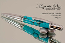 Handmade Ballpoint Pen, Turquoise and Gold TruStone Ballpoint Pen, Satin Chrome / Chrome Finish - Looking from top of Ballpoint Pen