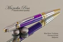 Art Deco Handmade Ballpoint Pen, Blue River TruStone Art Deco Ballpoint Pen, Gold and Chrome Finish - Looking from Top of Ballpoint Pen