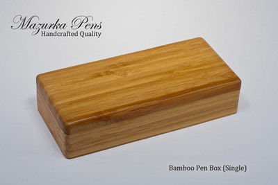 Premium bamboo display case (box) with brass hinges, single pen foam insert (shown closed)