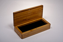 Premium bamboo display case (box) with brass hinges, single pen foam insert (pen not included, shown open with insert)