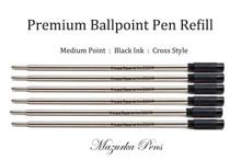 Cross-style ballpoint pen refill, Black Ink, Medium Point, Private Reserve - 6 pack