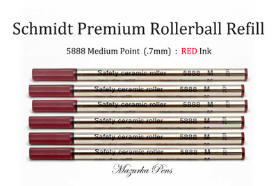 6 Pack of Schmidt 5888 Rollerball Refill, Medium Point (.7mm), Red Ink