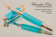 Handmade Art Deco Rollerball Pen, Turquoise and Gold TruStone Art Deco Rollerball Pen,Rhodium and Gold Finish - Looking from front of Ballpoint Pen