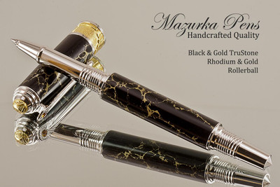 Handmade Art Deco Rollerball Pen, Black and Gold TruStone Art Deco Rollerball Pen, Rhodium and Gold Finish - Looking from side of pen