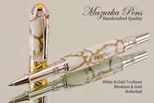 Handmade Art Deco Rollerball Pen, White and Gold TruStone Art Deco Rollerball Pen, Rhodium and Gold Finish - Looking from cap view of pen