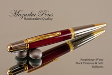 Handmade Ballpoint Pen, Purpleheart with Black Titanium and Gold Finish - Top view of Ballpoint Pen