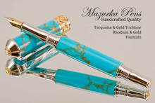 Handmade Fountain Pen Handcrafted from Turquoise and Gold TruStone with Rhodium and Gold finish.  Nib view of pen and cap.