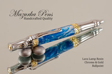 Handmade Ballpoint Pen, Lava Lamp Acrylic Resin Pen, Chrome & Gold color Finish