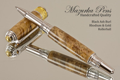Handmade Rollerball Pen made from Black Ash Burl with Rhodium/Gold color trim.  Handcrafted pen by our artist.  Side view of pen cap.