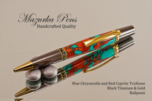 Handmade Ballpoint pen made from TruStone Chrysocolla and Cuprite