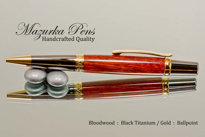 Handmade Ballpoint Pen from Bloodwood with Black Titanium and Gold Accents - Looking from Side of Ballpoint Pen
