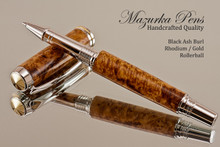 Handmade Rollerball Pen handcrafted from Black Ash Burl wood Rhodium and Gold finish.