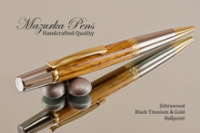 Handcrafted pen made from Zebrawood with Black Titanium & Gold finish.  Top view of pen