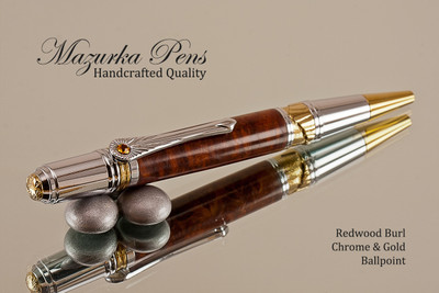 Handmade Ballpoint Pen, Redwood Burl Ballpoint Pen, Gold and Chrome Finish