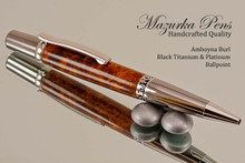 Handmade Ballpoint Pen, Amboyna Burl with Black Titanium and Platinum Finish - Bottom view of Ballpoint Pen
