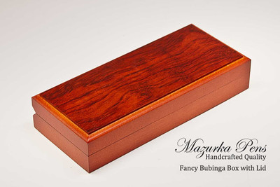 Fancy Bubinga hinged Pen Box / Pen Case.  Felt lining.  Holds single large pen, shown closed