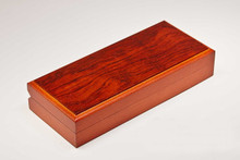 Fancy Bubinga Hinged Pen Box Case - Single Pen Felt Lined
