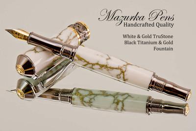 Handmade Fountain Pen - White & Gold TruStone - Black Titanium / Gold -  Main  view