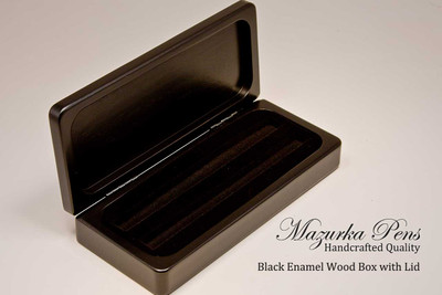 Premium black enamel wood display case with hinges, single or double pen inserts (pens not included, shown open)