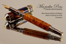 Handmade Blue Resin / Big Leaf Maple Burl Fountain Pen with Black Titanium / Gold trim.