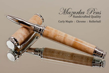 Handmade Rollerball Pen made from Curly Maple with Chrome trim.  Handcrafted pen by our artist.  Cap view of pen cap.