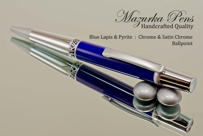 Handmade Ballpoint Pen, Blue Lapis and Pyrite TruStone Pen, Chrome & Satin Chrome Finish - Looking from Side of Ballpoint Pen