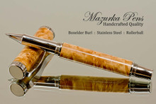 Handmade Rollerball Pen Handcrafted from Boxelder Burl with Polished Stainless Steel finish.  Cap view of pen and cap.
