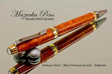 Handmade Ballpoint Pen, Amboyna Burl with Black Titanium and Gold Finish - Top view of Ballpoint Pen