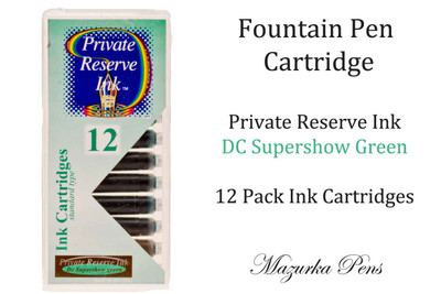Fountain pen ink cartridges - DC Supershow Green color, Pack of 12 cartridges
