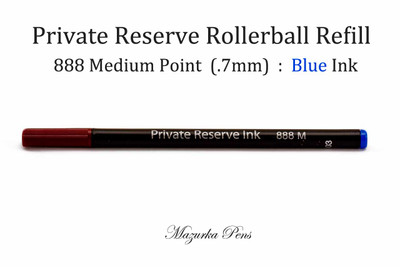 Private Reserve Ink - 888 Rollerball Refill, Blue Ink, Medium Point