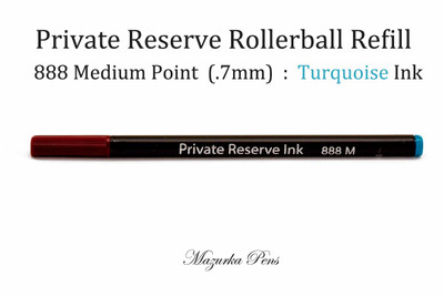 Private Reserve Ink - Rainbow Rollerball Pen Refills, Turquoise Color, Medium Point