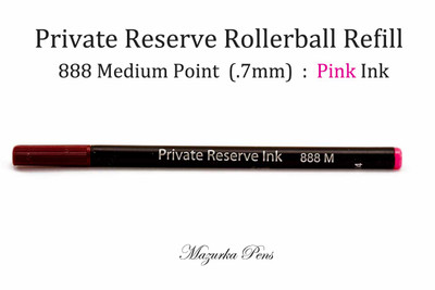 Rainbow Private Reserve Ink - 888 Rollerball Pen Refill, Pink Color, Medium Point