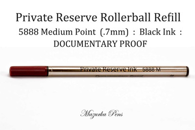 Private Reserve Ink - 5888 Rollerball Pen Refill - DOCUMENTARY PROOF, Black Ink, Medium Point