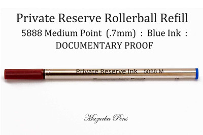 Private Reserve Ink - 5888 Rollerball Pen Refill - DOCUMENTARY PROOF, Blue Ink, Medium Point