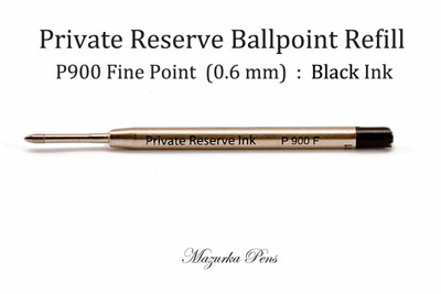 Parker Style Ballpoint Refill - Private Reserve Ink Brand, Black Ink, Fine Point