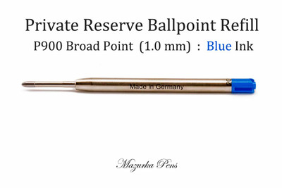 Private Reserve Ink - P900 Ballpoint Pen Refill - Parker Style - Broad Point, Blue Ink
