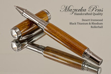 Handmade Rollerball Pen made from Desert Ironwood with Black Titanium/Rhodium trim.  Handcrafted pen by our artist.  Main view of pen cap.