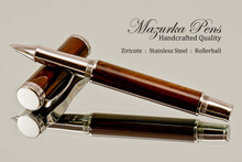 Handmade Rollerball Pen Handcrafted from Ziricote with Polished Stainless Steel finish.  Tip view of pen and cap.