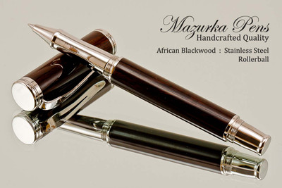 Handmade Rollerball Pen Handcrafted from African Blackwood with Polished Stainless Steel finish.  Main view of pen and cap.