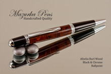Handmade Ballpoint Pen, Afzelia Burl with Black and Chrome Finish -