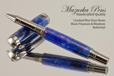 Handmade Rollerball Pen made from Blue Cracked Glass Resin with Black Titanium and Rhodium finish.  Main view of pen and cap.