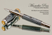 Handmade Metal Black Lava and Cobaltium Chrome & Gold Rollerball Pen.  Cap view of pen