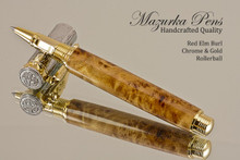 Hand Made Rollerball Pen made from Red Elm Burl with Gold and Chrome finish.  Main view of pen and cap.