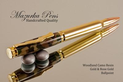Handcrafted Bullet Cartridge Ballpoint Pen, .30 Caliber Replica Bullet Pen, Gold / Brass color Finish