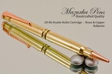 Handmade Double 30-06 Caliber Ballpoint Bullet Cartridge Pen, Brass Finish - Looking from Bottom Side of Pen on Mirror