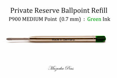 Parker Style Ballpoint Pen Refill - Private Reserve Ink - MEDIUM Point (0.7 mm), Green Ink