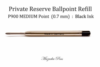 Parker Style Ballpoint Pen Refill - Private Reserve Ink - MEDIUM Point (0.7 mm), Black Ink