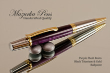Handmade Ballpoint Pen, Purple Flash Resin with Black Titanium and Gold Finish